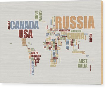 World Map In Words 2 Wood Print by Michael Tompsett