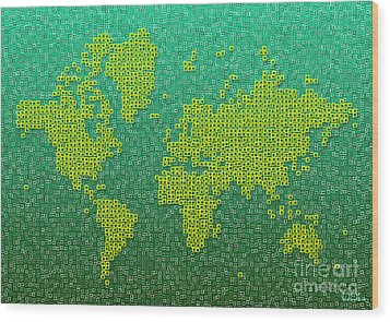 World Map Kotak In Green And Yellow Wood Print by Eleven Corners