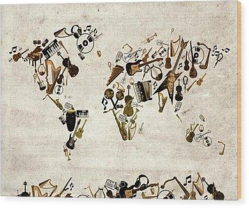 Wood Print featuring the digital art World Map Music 1 by Bekim Art