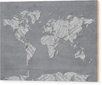 Wood Print featuring the digital art World Map Music 11 by Bekim Art