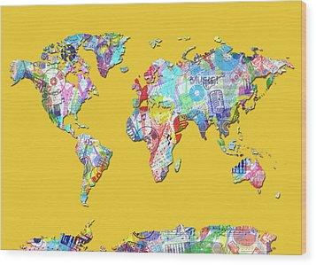 Wood Print featuring the digital art World Map Music 13 by Bekim Art