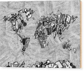 Wood Print featuring the digital art World Map Music 2 by Bekim Art