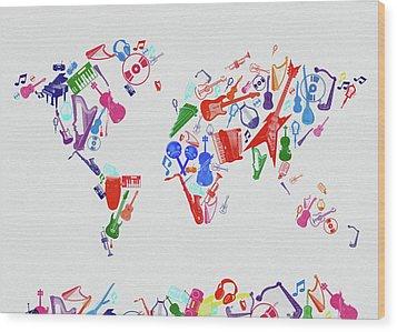 Wood Print featuring the digital art World Map Music 3 by Bekim Art