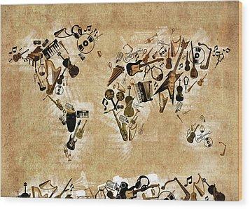 Wood Print featuring the digital art World Map Music 4 by Bekim Art