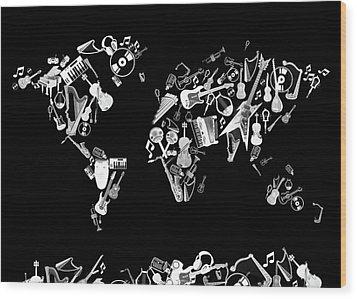 Wood Print featuring the digital art World Map Music 5 by Bekim Art