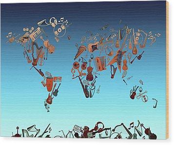 Wood Print featuring the digital art World Map Music 6 by Bekim Art