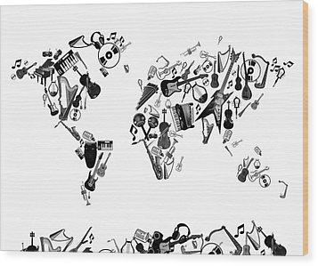 Wood Print featuring the digital art World Map Music 7 by Bekim Art