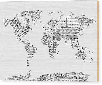 Wood Print featuring the digital art World Map Music 8 by Bekim Art