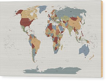 World Map Muted Colors Wood Print by Michael Tompsett