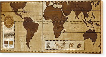 World Map Of Coffee Wood Print