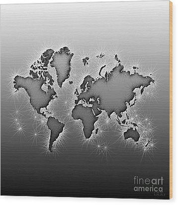 World Map Opala In Black And White Wood Print by Eleven Corners