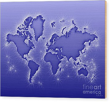World Map Opala In Blue And White Wood Print by Eleven Corners