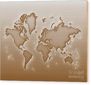 World Map Opala In Brown And White Wood Print by Eleven Corners