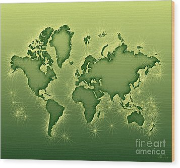World Map Opala In Green And Yellow Wood Print by Eleven Corners