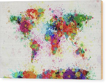 World Map Paint Drop Wood Print by Michael Tompsett