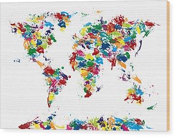 World Map Paint Drops Wood Print by Michael Tompsett