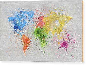 World Map Painting Wood Print by Setsiri Silapasuwanchai
