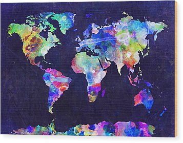 World Map Urban Watercolor Wood Print by Michael Tompsett