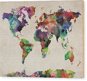 World Map Watercolor 16 X 20 Wood Print by Michael Tompsett