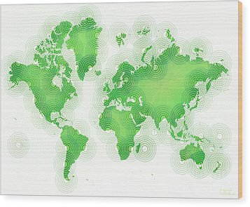 World Map Zona In Green And White Wood Print by Eleven Corners