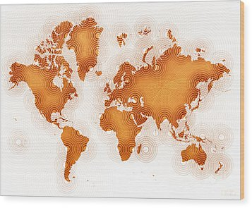 World Map Zona In Orange And White Wood Print