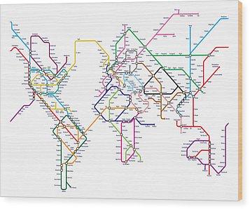 World Metro Tube Map Wood Print by Michael Tompsett