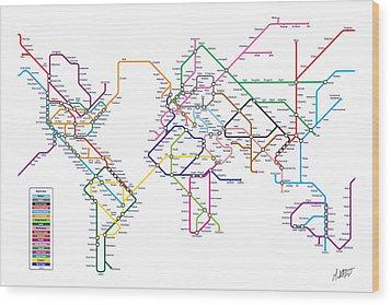World Metro Tube Subway Map Wood Print by Michael Tompsett