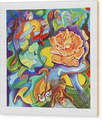 World Of The Rose Wood Print by Monika Kretschmar