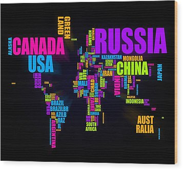 World Text Map 16x20 Wood Print by Michael Tompsett