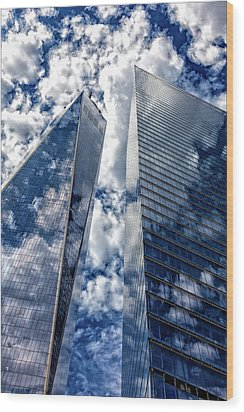 World Trade Center And Clouds Wood Print