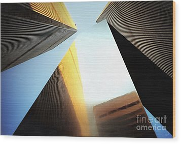World Trade Center Towers And The Ideogram 1971-2001 Wood Print by Nishanth Gopinathan
