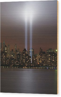 World Trade Center Tribute In Light Wood Print by Greg Adams Photography