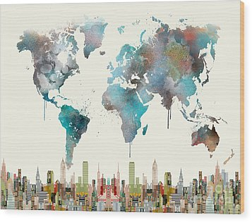 Wood Print featuring the painting World Travel Map by Bri B