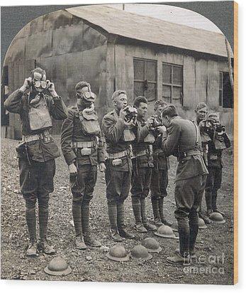 World War I: Gas Masks Wood Print by Granger