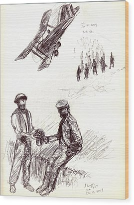 Wood Print featuring the drawing World War One Sketch No. 2 by Andrew Gillette
