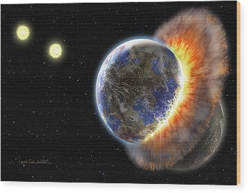 Worlds In Collision Wood Print by Lynette Cook
