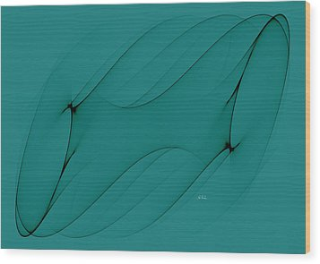 Wormhole In Turquoise  Wood Print by Angela A Stanton