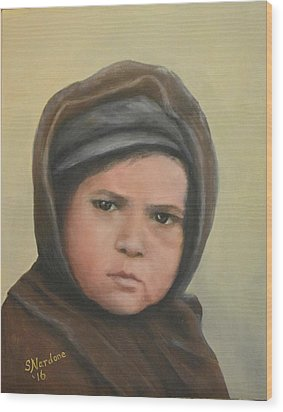 Worried Boy On Ellis Island Wood Print