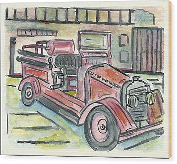 Worthington Fire Engine Wood Print by Matt Gaudian