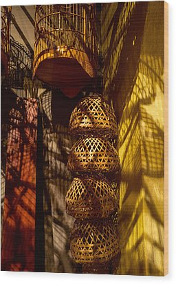Woven Baskets Wood Print