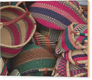 Woven Baskets Wood Print by Walter Beck
