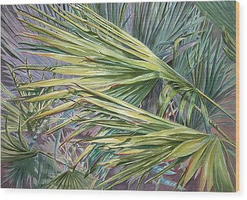 Woven Fronds Wood Print by Roxanne Tobaison