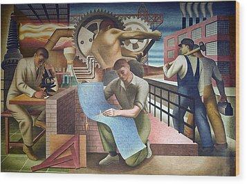 Wpa Mural. Mural By Charles Klauder Ca Wood Print by Everett