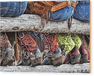 Wrangler Boots Butts And Spurs Wood Print