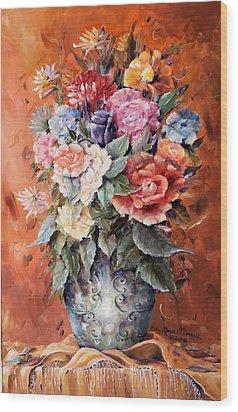 Wrapped In Flowers Wood Print by Ellen Lerner ODonnell