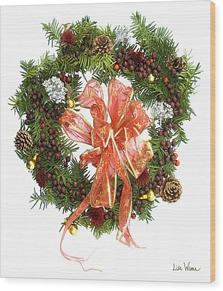 Wood Print featuring the digital art Wreath With Bow by Lise Winne