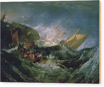 Wreck Of A Transport Ship Wood Print by Joseph Mallord William Turner