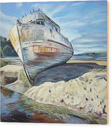 Wreck Of The Old Pt. Reyes Wood Print by Colleen Proppe