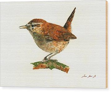 Wren Bird Art Painting Wood Print by Juan  Bosco