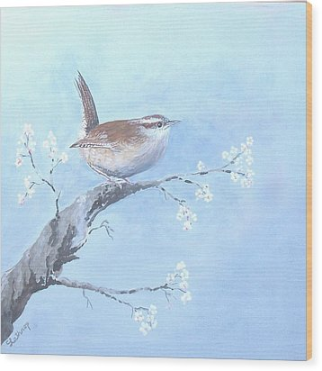 Wren Wood Print by Christine Lathrop